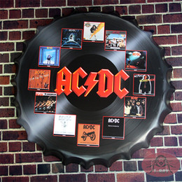 Wholesale Round Sign AC DC Best Bands Beer bottle Cap Pub Restaurant Lounge Bar Wall Decor cm RD