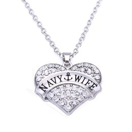 New Arrival Hot Selling rhodium plated zinc studded with sparkling crystals NAVY-WIFE heart pendant wheat chain necklace
