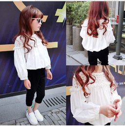 Girl Blouse For Girls Long Sleeve Shirts Hollow White Color Kids White Blouse Children Clothing Formal Girls School Shirts,Free shipping
