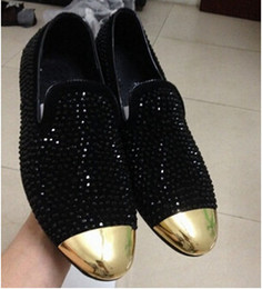 Hot Sale Rhinestones Men Shoes Metal Toe Casual Flats Summer Shiny Diamond Slip On Loafers Shoes Men Flats Plus Size 46