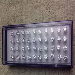 Wholesale Hot New Arrival Jewelry Earring 100pair 5lot 925 sterling silver earrings for women 8MM Cubic Zirconia Stud Earrings