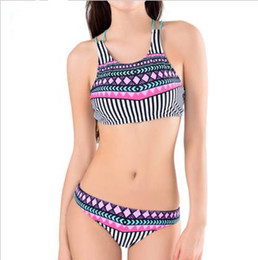 Compra On-line Tankinis mulheres s-Mulheres Tankini Sexy Swimsuit Alta Pescoço Bikini Halter Push Up Swim Suit Sport Bikini Set Swimwear acolchoado Fêmea Bathing Suit XL