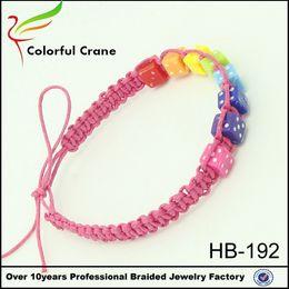 2016 Fashion acrylic bead Dice braided bracelet Multicolored rope Rainbow Friendship Bracelet handmade Kids bracelet
