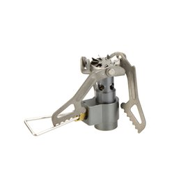 Wholesale 25g Lightweight Mini Pocket One Piece Titanium Alloy Outdoor Cooking Burner Folding Camping Gas Stove BRS T W