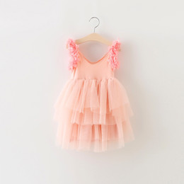EMS DHL Free shipping little girls Kids Pink Party Princess Tulle Dress Summer Occasion Dress Holiday wear petals Party Dress