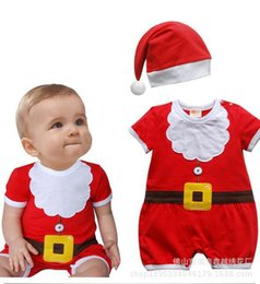 fashion Infant Baby Christmas Rompers Short Sleeve Baby Boys Girls Rompers New Jumpsuit Children Clothing Set Romper+Hat