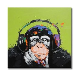 Wholesale the Thinking Gorilla in Headphones Funny Monkey Animals Creative Art Paintings Handpainted Canvas Oil Paintings x60cm