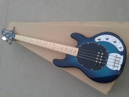 Free shipping Music man 4 strings music man stingRay blue electric guitar with 9V Battery active pickups