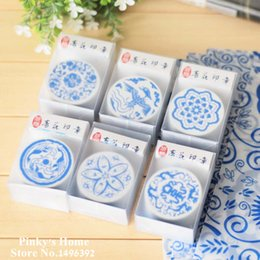 Wholesale-Vintage Chinese Style Blue and White Porcelain Wooden Stamp Art Pattern Stamp Scrapbook Stamp1083