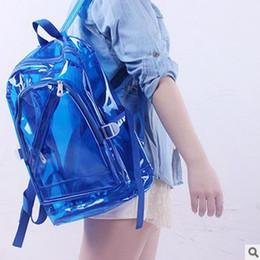 La moda bolsas de plástico transparentes en Línea-Bolsa al por mayor de 2016 nuevas mujeres de la alta calidad transparente de plástico transparente Mochila Mochila Bookbag viaje bolsos de PVC de 6 colores