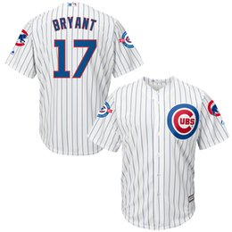 Wholesale 17 Kris Bryant MLB Chicago Cubs Majestic White with Years at Wrigley Field Commemorative Patch Cool Base Baseball Jerseys Stitched