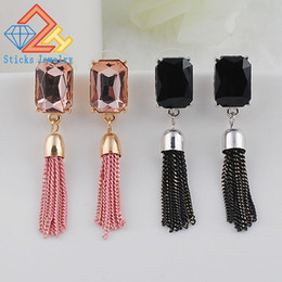 Tassel Earrings Personality Metal Chain Long Earrings Rhinestone Gold Plated Jewelry Wholesale Gifts All Match