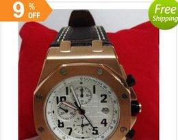 Brand new style men dress quartz movement stopwatch gold bezel white face offshore royal oak AAA quality
