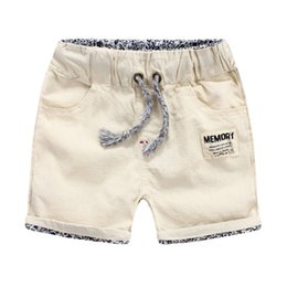Wholesale Korea children clothing Baby boys shorts Kids Contrast waistband rolled hem breathable washed cotton linen bamboo beach shorts China supply