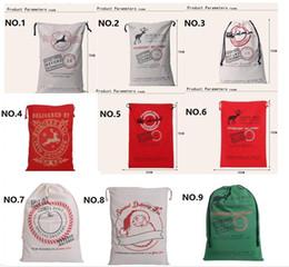 Wholesale Christmas Large Canvas cm Santa Claus Drawstring Bag With Reindeers Monogramable Christmas Gifts Sack Bags CC04