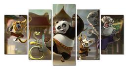 Скидка фотографии панели 5 Панель Главная украшение стены искусства кунг-фу панда живопись на холсте текстурированные Аннотация Картины Картины Декор Нет обрамленные