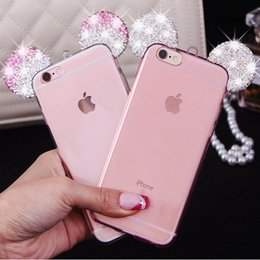 Wholesale Clear Silicone Ears - 3D Mickey Mouse Ear Phone cases For iPhone 6s 6 7 Plus 5s iphone6 Samsung S7 S6 Note 5 Rhinestone Ears Soft TPU Cell Phone Case With Lanyard