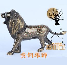 Pakistan bronze lion carved art bronze decoration senior animal