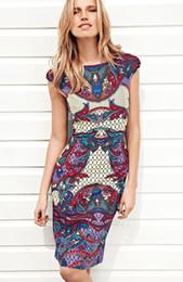 Vintage Print Women Sheath Dress Cap-Sleeve Casual Dresses 064A639
