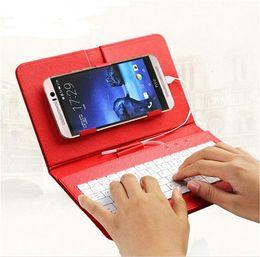 Caso de cuero del teclado del iphone en Línea-Caso del universal del teclado portátil cubierta del tirón de la PU de cuero protector del mini con el sostenedor del soporte para Samsung Galaxy 4.2 a 6.5 pulgadas del teléfono móvil s7