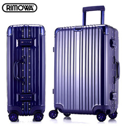 Wholesale 29 inch rimowa style aluminum frame angle drawbars hook up universal casters rolling carry on luggage trolley bags travel case suitcase