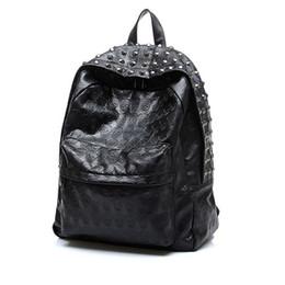 Wholesale Skull Rivets For Leather - New PU Leather Skull Rivets Backpack School Bags For Teenagers Men Women Top Quality Backpacks Girls Travel Bag Black