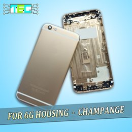 Wholesale Champagne Gold Color Housing For iPhone Back Cover Battery Door Metal Middle Frame Chasis With Full Logo Buttons Parts IMEI Number