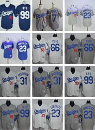 Wholesale Men s Hyun Jin Ryu Julio Urias Adrian Gonzalez Yasiel Puig Joc Pederson Los Angeles Dodgers Flexbase Authentic j