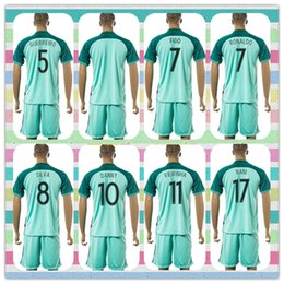 Wholesale New Product Uniforms Kit European Cup Portugal Flgo Ronaldo Nanl Danny Soccer Jersey Light Green Blue Away Jerseys Shirt