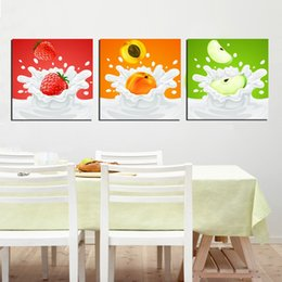 Unframed 3 Pieces art picture free shipping Canvas Prints Cartoon strawberry peach Apple potted flower butterfly orchid Mushroom house tree