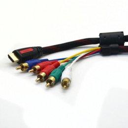 Kabel audio vidéo à vendre-Livraison gratuite 5ft 1,5 M HDMI à 5 RCA Video Component Cable adaptateur audio cabo de kabel tv