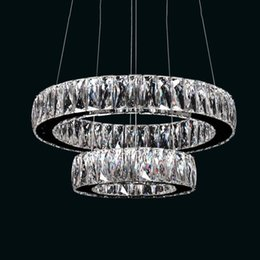 Wholesale VALLKIN LED Crystal Pendant Lights Lamps Fixtures with D20CM D40CM AC110 To V Stainless Steel Clear K9 Crystal CE FCC