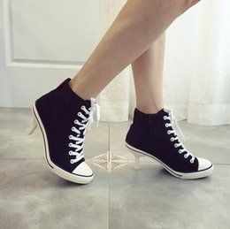 2016 classic canvas ladies sneakers high heels shoes lace up ankle boots