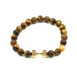 Wholesale Natural Stone Turquoise Tiger Eye Matte Lava Stone Beads Dumbbell Bracelet Strand Elastic Rope Adjustable Size Men Women Jewelry
