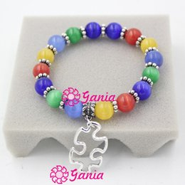 Free Shipping Newest Wholesale Autism Puzzle Jewelry Awareness Autism Beaded Puzzle Autism Charm Bracelet for Puzzle Autism Awareness Gift