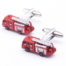 Free shipping Red Fire Engine Cufflinks Men Shirt Accessories 960069