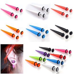 1 Pair 8 Colors earrings Fashion Illusion Ear Fake Cheater Stretcher Rivet Taper Plug Stud Earrings Tunnel Gauges