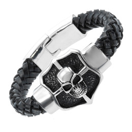 2016 New Famous Leather Bracelet&Bangle Heavy Duty Rock Punk Bracelets For Men Skull Rivet Male Fashion Jewelry Wristband Pulseira Masculina