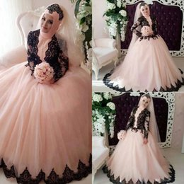 New Vintage Muslim Ball Gown Wedding Dresses Black Lace Applique Beaded High Neck Long Sleeves Floor Length Tulle Bridal Gowns