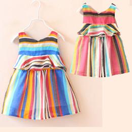 2016 Fashion New Summer Chromatic stripe dress For Baby Girls Condole belt skirt Cotton stripe dress colorful Dresses pink blue