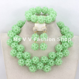 2018 light green African Costume Jewelry Set High Quality Crystal Beads Balls Jewelry Set Necklace Bracelet and Earring Set