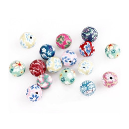 Wholesale 40 mm Mixed Polymer Clay Fimo Flower Round Loose Spacer Beads For DIY Jewelry Making Bracelets