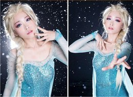 Hot Princess Frozen Snow Queen Elsa Anna Weaving Cosplay Curly Wig Children Adult Snow Queen Gold Long wigs