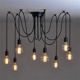 8Heads Mordern Nordic Retro Edison Bulb Light, Industrial Vintage Ceiling Lamp, Edison Light Pendant Lighting Holder