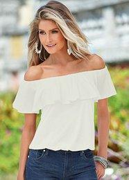 2017 Cheap Elegant Strapless T-shirt Slash Neck Top Chiffon Ruffles t shirt Women Fashion Tops Free Shipping