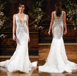 Wholesale Isabelle Armstrong Beach Full Lace Wedding Dresses V neck Illusion Bodice Crystals Mermaid Wedding Gowns Sexy Vintage Bridal Dresses