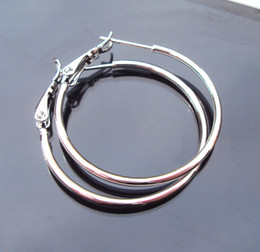 wholesale 18k White Gold Earrings 30MM unique LARGE HOOP EARRINGS pure low-priced HOT FREE SHIPPING