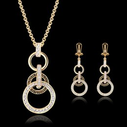 Earrings Necklace Jewelry Set Women Luxury Fashion Rhienstone 18K Gold Plated Alloy Circles Wedding Jewelry 2-Piece Set Wholesale JS095