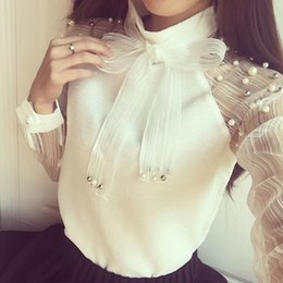 In the spring of 2016 new Japanese women's elegant pearl Eugen yarn bowknot backing long sleeved shirt chiffon shirt tide
