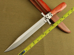 Free Shipping New 12'' 440 Blade Survival Bowie Large Wood Handle Botton Lock Folding Knife